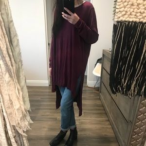 long tunic high low shirt top dress burgundy